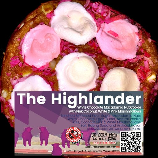 The Highlander White Chocolate Macadamia Cookie with Pink Coconut, White and Pink Marshmallows